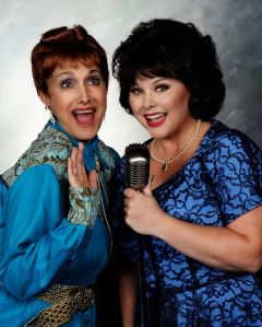 Tiffany Walker Porta Burrows as Patsy Cline and Maribeth Vogel as Louise Seger. Credit: Dundalk Community Theatre